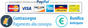 Nessun commissione sul pagamento. Si accettano carte di credito, paypal, contrassegno e bonifico anticipato
