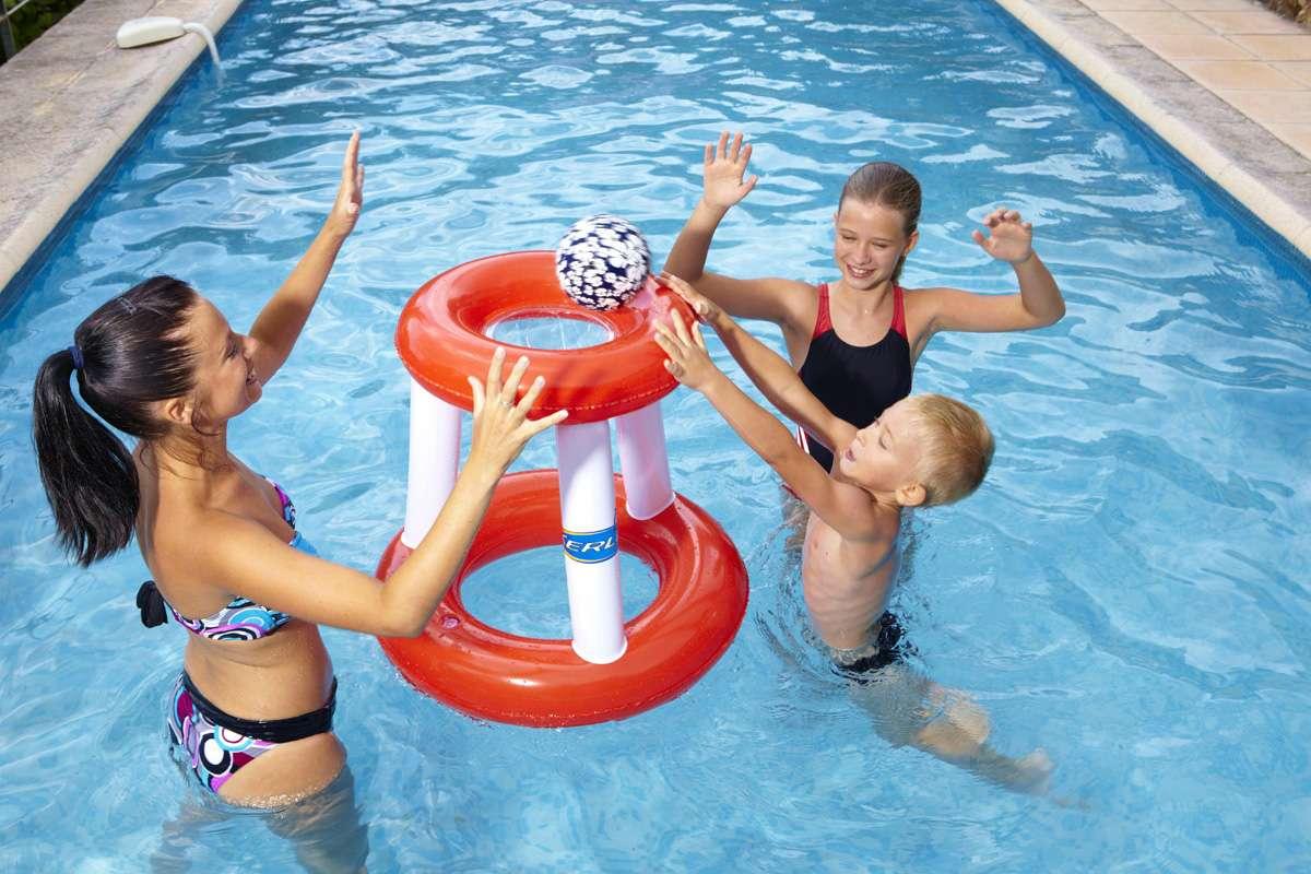 Canestro galleggiante rosso per piscina 1000 piscine - Materassini per piscina ...