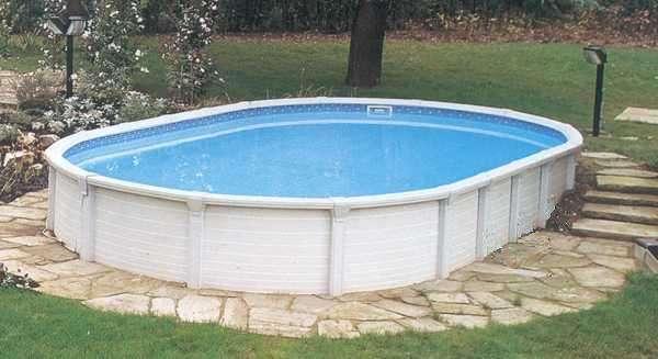 Piscina fuori terra in acciaio atrium ovale 1000 piscine for Costruire piscina fai da te