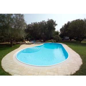 Piscina interrata in pannelli di acciaio a sfioro forma libera in kit 1000 piscine - Costo piscina interrata ...
