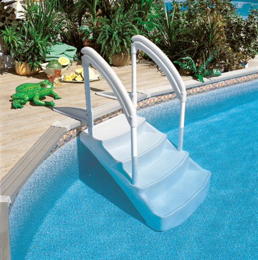 Scala Voie Royale per piscine, con doppio corrimano, zavorra e doppio ancoraggio. Via Reale.