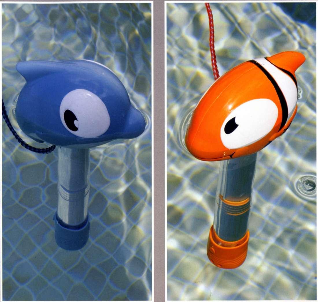 Mini termometro galleggiante con pesce for Pesci finti per piscina