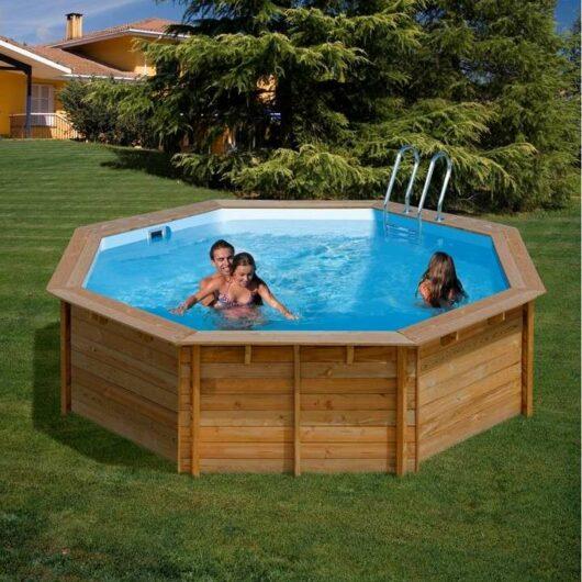 Piscina fuori-terra rotonda in legno di pino, Violette Wooden Pool