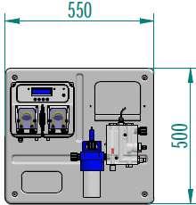 Dimensioni pannello MP-Dual pH/Cloro