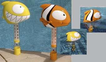 Termometro galleggiante per piscina con pesce ciccio for Pesci finti per piscina